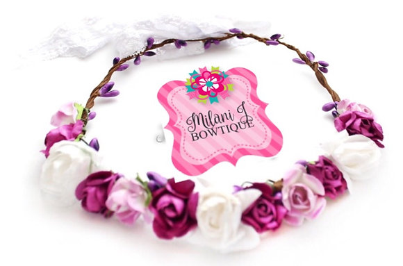 White, Lilac & Purple Floral Crown