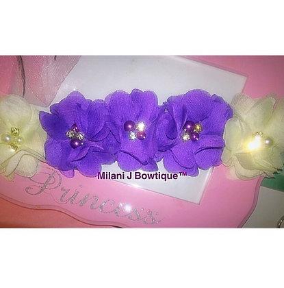 Purple & Ivory Flower Crown