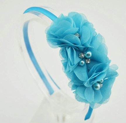 Turquoise Chiffon Flower Crown/Headband
