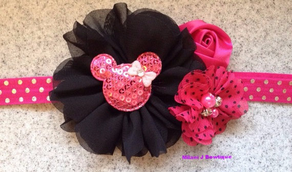 Hot Pink Minnie Mouse Headband