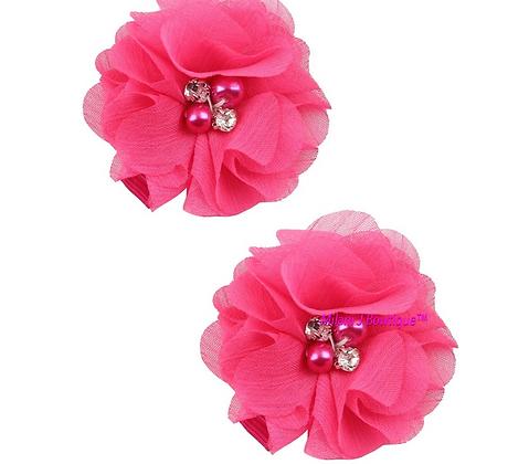 Hot Pink Chiffon Hair Clip Set
