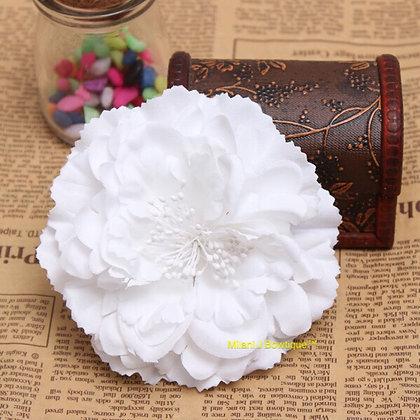 "4"" White Peony Hair Flower"
