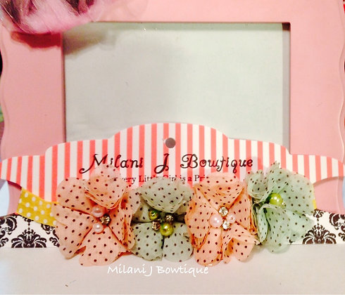 Light Pink & Mint Polka Dot Flower Crown