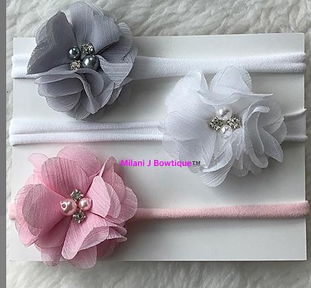 Pink Gray and White Treo Headband