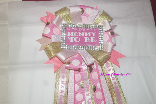 Baby Shower Corsage For Mom ~ Over the top pink gold princess baby shower corsage pin milani