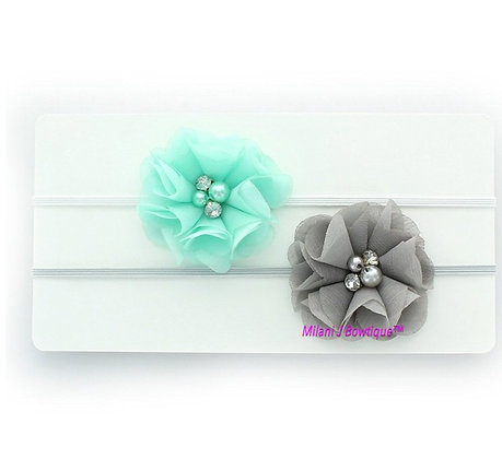 Gray and Aqua Chiffon Headband Set