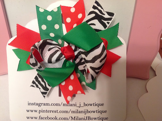 "4"" Inch Spiked Christmas Hair Bow"