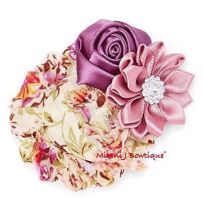 Purple & Cream Floral Hair Clip