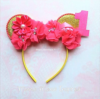 Red Minnie Mouse Flower Ears