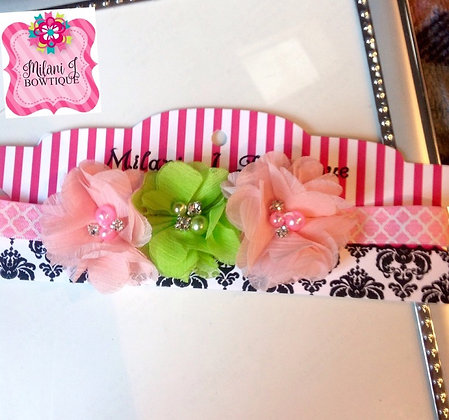 Pink & Green Flower Crown Headband