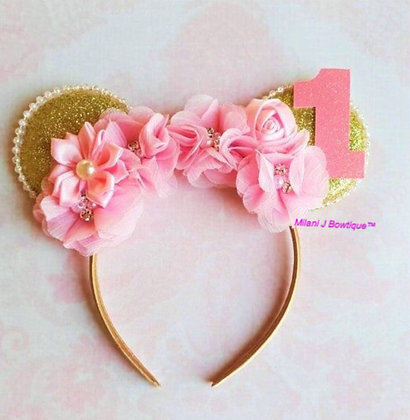 Hot Pink Minnie Mouse Flower Ears