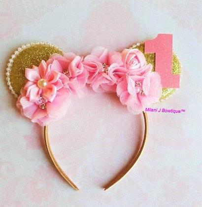 Minnie Mouse Flower Birthday Ears
