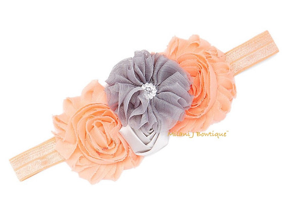 Peach & Gray Floral Headband