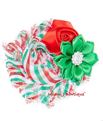 Red & White Christmas Floral Hair Clip