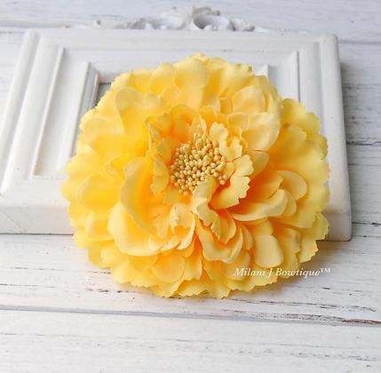 "4"" Yellow Peony Hair Flower"