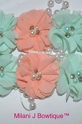 Mint and Peach Flower Crown