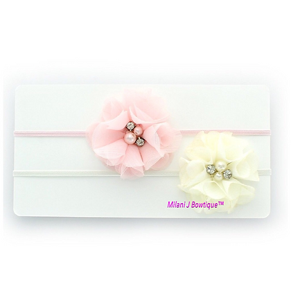 Ivory and Light Pink Chiffon Headband Set