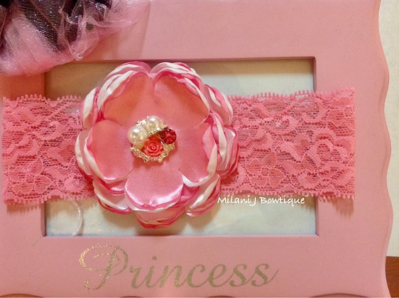 Pink & White Satin Singed Flower on Lace Headband
