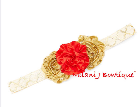Gold & Red Floral Headband