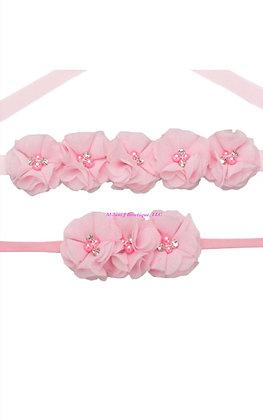 Rhinestone & Chiffon Flower Maternity/Bridal Sash &Headband