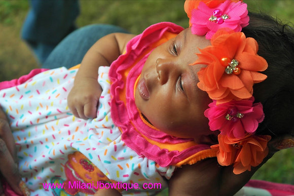 Hot Pink & Orange Flower Crown Headband