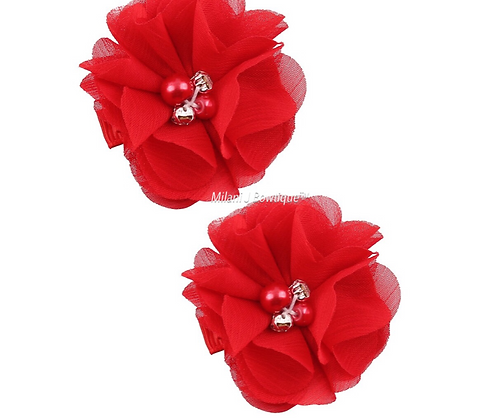 Red Chiffon Hair Clip Set