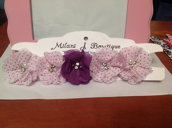 Purple Polka Dot Flower Crown