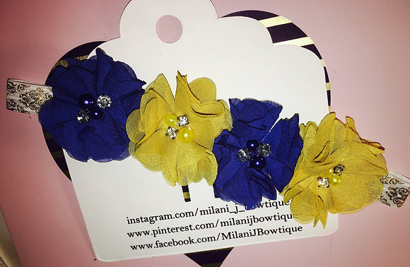 Navy Blue & Gold Flower Crown