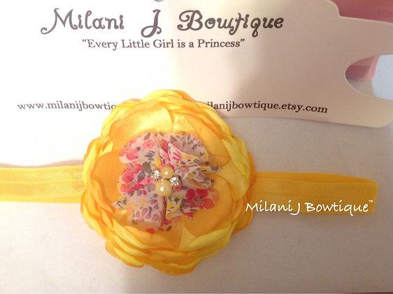 Yellow Satin Singed Flower Headband