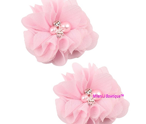 Light Pink Chiffon Hair Clip Set