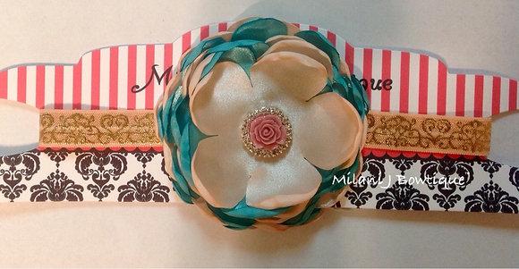 Peach Satin Singed Lace Flower Headband