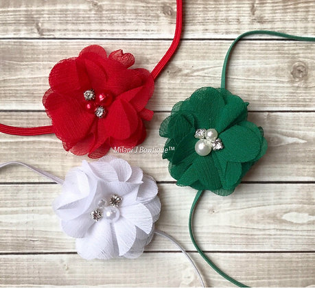 Set of 3 White, Red and Green Pearl and Crystal Headband