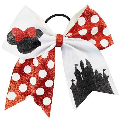 "Glitter Polka Dot Minnie Mouse Hair Bow 3"""