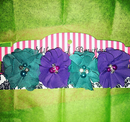 Teal and Purple Chiffon Flower Crown