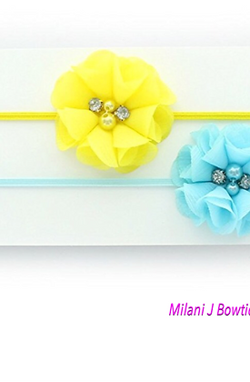 Yellow and Light Blue Chiffon Headband Set