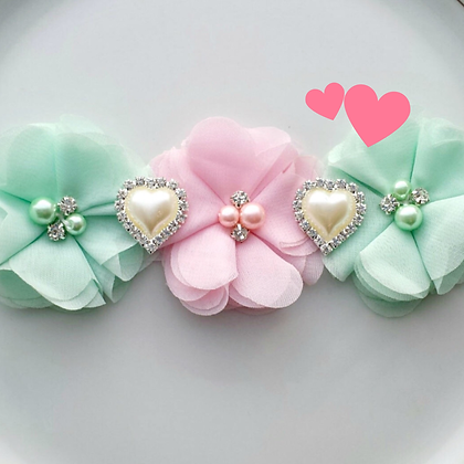 Mint and Pink Flower Crown with Rhinestone Hearts