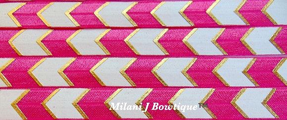 5/8 Hot Pink Chevron and White Fold Over Elastic