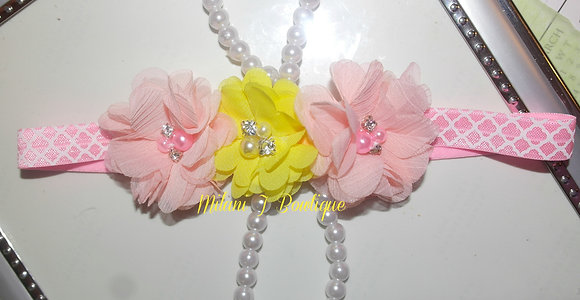 Pink and Yellow Chiffon Flower Crown/Headband