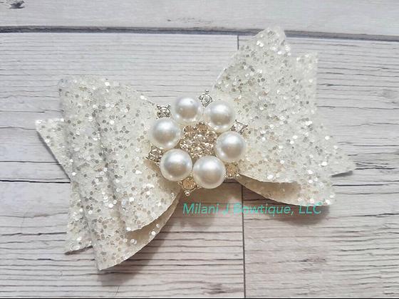 White Glitter ✨ Hair Bow