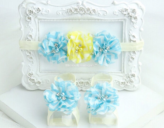 Turquoise & Yellow Chevron Flower Crown with Barefoot Sandals