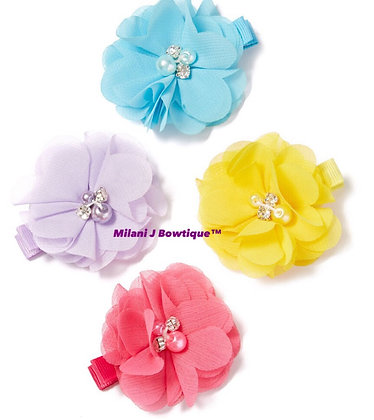 Crystal-Accent Flower Clip Set