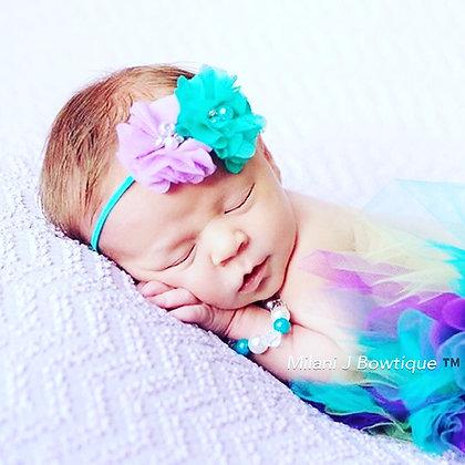 Purple and Teal Flower Crown Headband