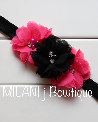 Hot Pink and Black Flower Crown