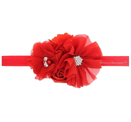 Red Shabby Chic Headband