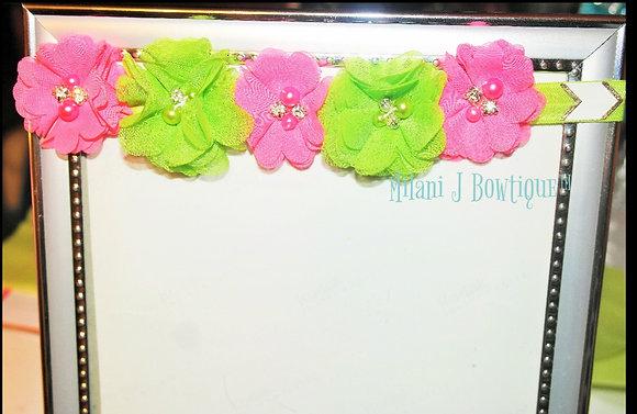 Pink & Green Flower Crown