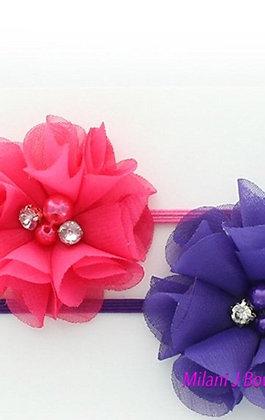 Purple and Hot Pink Chiffon Headband Set