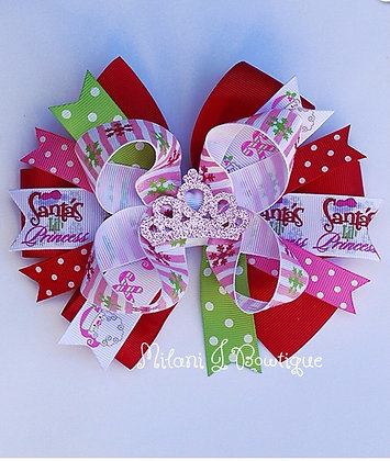 Santa's Lil Princess Bowtique Stacked Hair Bow