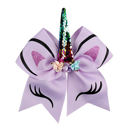 """8"""" Unicorn Sequin Cheer Bow With Elastic Band"""