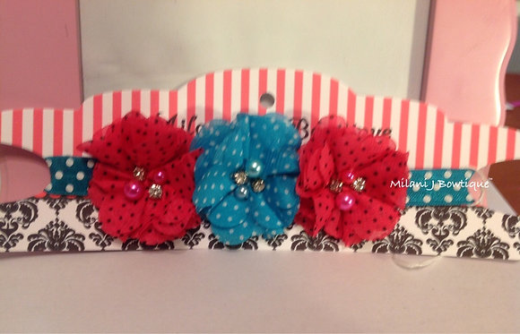 Turquoise & Hot Pink Polka Dot Flower Headband