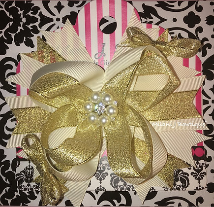 Gold & Ivory Boutique Hair Bow